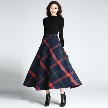 2017 Winter skirt women party casual long maxi skirt vintage autumn elastic high waist big sing around woolen plaid skirts falda