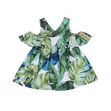 Summer Toddler Baby Girl Dress Sleeveless Off Shoulder Leaf Party Wedding Tutu Dress Adorable