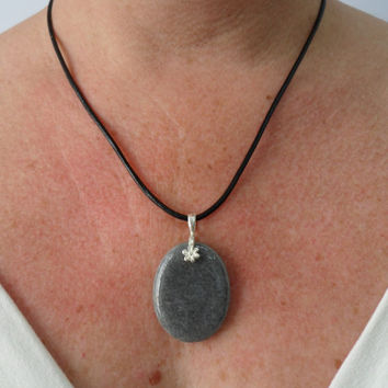 Small Grey Pebble Necklace, Silver Bail, Stone Pendant Jewelry