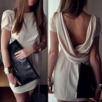 White Backless Short Sleeve Mini Dress