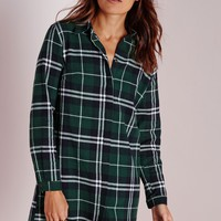 Missguided - Oversized Shirt Dress Green/White Check