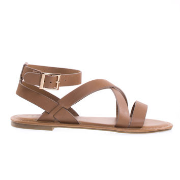 Seashore43M Tan Gladiator Strappy Flat Sandal Open Toe Thick Criss Cross Summer Shoe