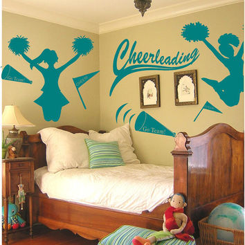 Cheerleading vinyl wall decals stickers from for Cheerleader wall mural