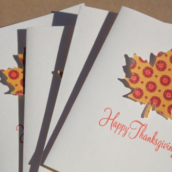 Thanksgiving Cards, Set of 4, Fall Leaves