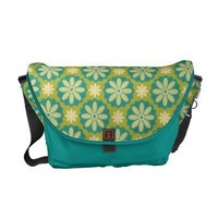 Mod Retro Vintage Teal and Green Floral Tote Bag Commuter Bag from Zazzle.com