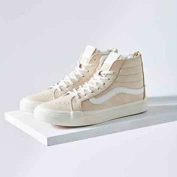 Vans Cream Leather Sk8-Hi Slim Sneaker