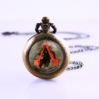 Assassin's Creed Pocket Watch,Bronze pocket watch,pocket watch necklace,Pendant necklace