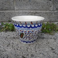 Antique Iznik style Persian ceramics - Eastern pottery late 19th century hand painted pottery - plant pot vintage Persian Decor