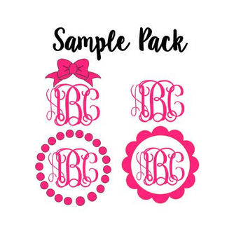 "Sample Pack of FOUR 3"" Monogram Decals - One Color - One Set of Initials - Perfect Gift - Sample Pack - Sale - Graduation Gift - Yeti"
