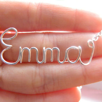 Personalized Wire Name Necklace by TheSweetSilverLining on Etsy