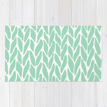 Hand Knitted Mint Area & Throw Rug by Project M   Society6