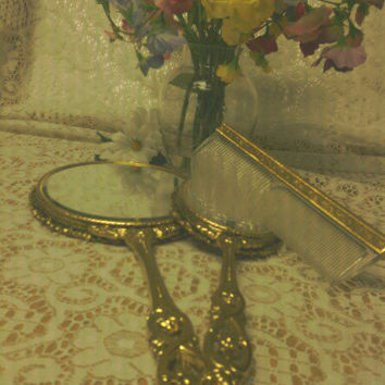 Vintage 1950's  ORNATE GOLD TONE  Vanity 3pc Set by MemoriesAmore