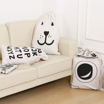 1Pcs Baby Kids Canvas Toys Storage Bags  Bear Letter Laundry Bag Pouch Toys Storage Bag Wall Pocket
