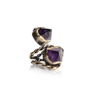 Raw double amethyst purple quartz crystals antique gold ring witch bulky boho gypsy women- made in brass