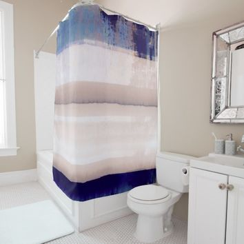 Blue Nautical Horizon Watercolor abstract Shower Curtain