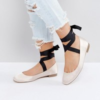 ASOS LOVED UP Wide Fit Tie Leg Ballet Flats at asos.com