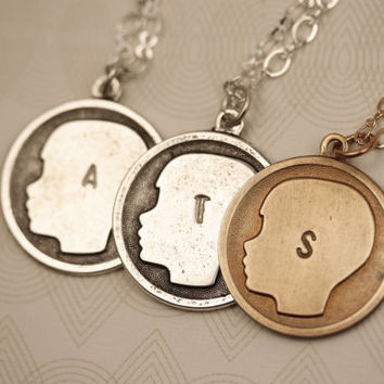 Small Boy Silhouette Personalized Letter Necklace Stamped, Initial Letter Pendant, Silver Necklace, Letter Monogram Necklace