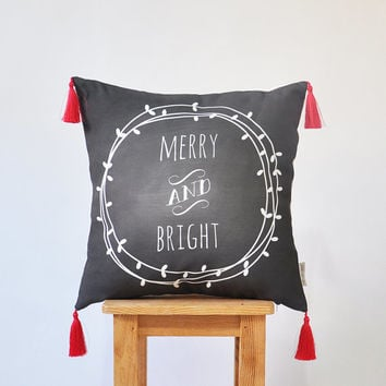 "NEW! Chalkboard Christmas Pillow, Kids Christmas Pillows, Decorative Nursery Pillow, Modern Pillow, Throw Pillow, Tassels 16"" x 16"""
