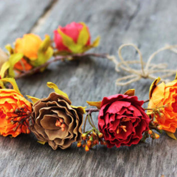 Wedding Accessories. Bridal Floral Headband. Fall Flower Crown. Rustic Head Wreath. Unique Women Accessories By Three Snails. Free Shipping!
