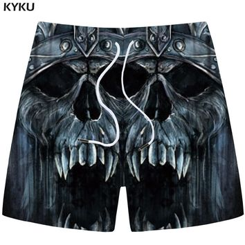 Skull Skulls Halloween Fall KYKU  Shorts Men Gray Cargo Shorts Casual Gothic Angry 3d Print Shorts Beach Fitness Mens Short Pants Summer 2018 Fitness Calavera