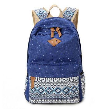 Navy Blue Ethnic Backpack School Bookbag Travel Bag