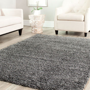 Safavieh SG151-8484-4R Shag Dark Grey Round: 4 Ft. In. x 4 Ft. In. Area Rug - (In Round)