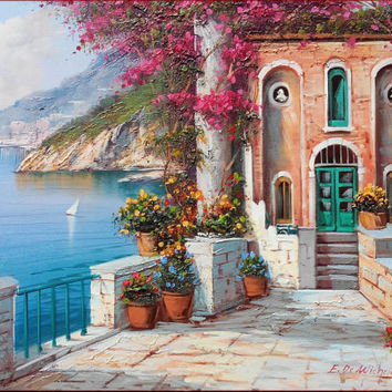 Italian painting Amalfitan Coast Italy bloomed house panorama original oil on canvas of Ernesto Di Michele Italia