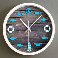 Juice Action 12 Inch Creative Simple DIY Navy Style Wall Clock