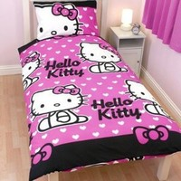 Girls Hello Kitty Quilt/Duvet Cover Bedding Set (Twin Bed) (Pink/White)