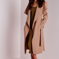 Missguided - Belted Waterfall Coat Camel