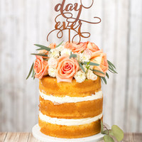 Wedding Cake Topper - Best Day Ever - Mahogany