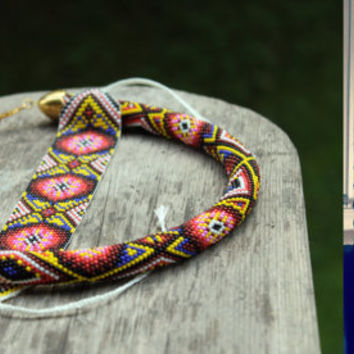 African colors and motifs machining of beads woven bracelet or headband, Geometric pattern, Patchwork, Handmade jewelry, Beadwork, Loom work