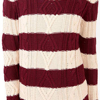 Striped Mixed Knit Sweater