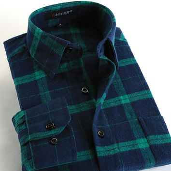 New Fashion Fall Men Casual Plaid Shirt Long Sleeve Slim Fit Flannel Man Clothes Men Shirts