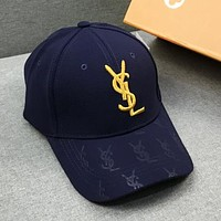 YSL New fashion embroidery gold letter couple cap hat Blue