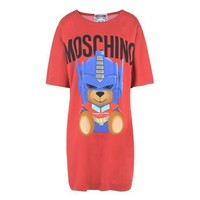 "Hot Sale Moschino Red ""Transformers Bear"" Fashion Women T Shirt Loose Short Sleeves Dress"