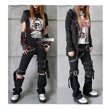 Best Black Cyber Punk Rock Gothic Clothing Pants Capris for Men Women SKU-11404001