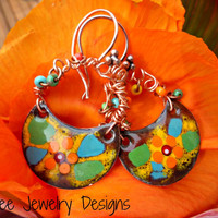 Czech glass beads and copper metal enamel charm earrings.
