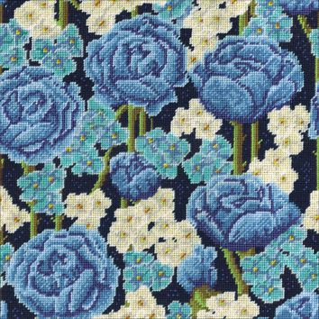 """Blue Roses Needlepoint Kit 12""""X12"""" Stitched In Yarn"""