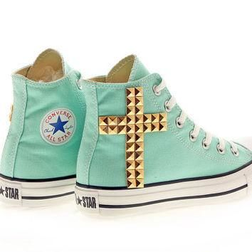 Studded Converse, Aruba Blue Converse Gold Cross by CUSTOMDUO on ETSY