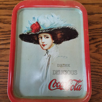 Vintage 1971 COCA COLA Serving Tray Reproduction 1909 DRINK DELICIOUS COCA COLA
