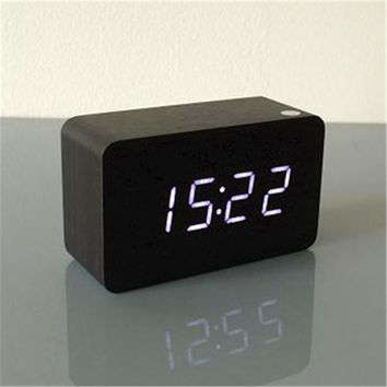Wooden alarm clock white/red/blue/green Led Ditital Clock, home Decorative indoor desk digital Alarm clock with thermometer