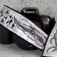 Camera Strap, Feathers with Birds taking flight, Hand Painted, Pen and Ink, One of a Kind, Artisan Series, dSLR or SLR, Tribal, 14-10