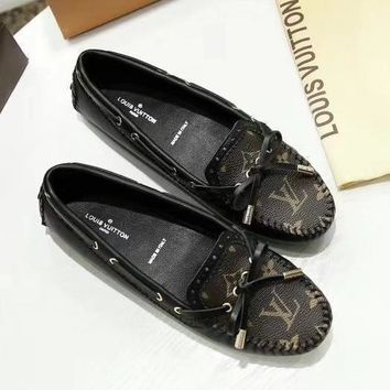 LOUIS VUITTON LV Women Fashion Leather Moccasin-Gommino Shoes
