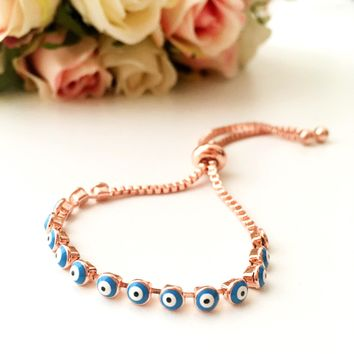 Evil eye bracelet, adjustable bracelet, blue evil eye bracelet, rose gold