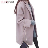 Cashmere Woolen Coat, Loose Fit, Long Women's Woolen Coat