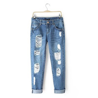 Women Fashion Mid Waist Vintage Ripped Denim Jeans Full Length Stretch Pencil Pants Blue