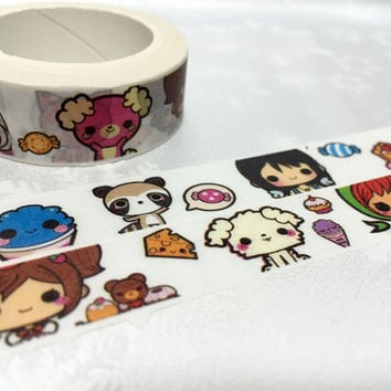 cute cartoon washi Masking tape 10M raccoon cat little girl candy food Japanese cartoon lovely animal deco sticker tape scrapbook gift decor