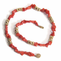 1950s 14K Natural Undyed Branch Coral Necklace