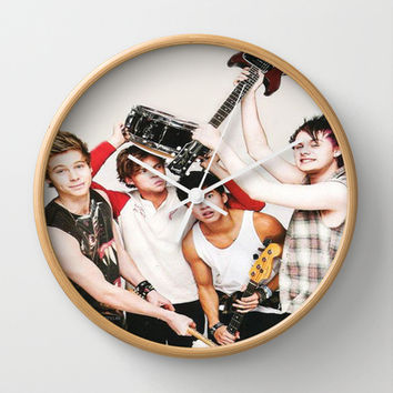 5sos on teen now wall clock by kikabarros from society6 5sos for Room decor 5sos
